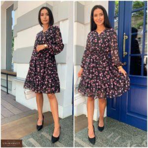 Замовити по знижці жіноче літнє плаття в квіточку з шифону (розмір 42-52) чорне