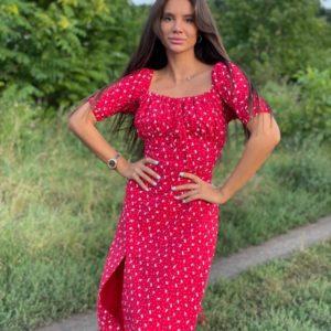 Заказать малиновое женское платье миди с открытыми плечами (размер 42-52) по низким ценам