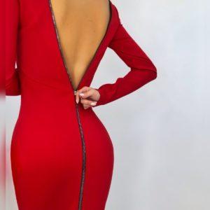 Заказать красное женское силуэтное платье с молнией по скидке
