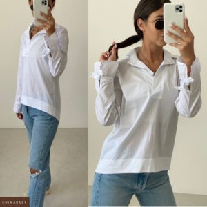 Купить женскую белую рубашку с бантиками (размер 42-52) в Украине