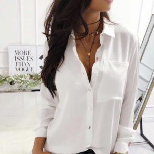 Купить недорого белую классическую рубашку из софта (размер 42-48) для женщин