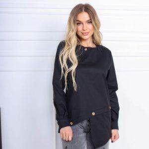 Купить выгодно черную асимметричную рубашку из хлопка (размер 42-52) для женщин