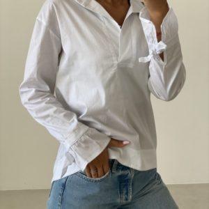 Приобрести женскую белую рубашку с бантиками (размер 42-52) онлайн