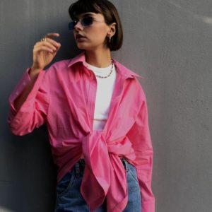 Заказать выгодно розовую рубашку оверсайз из хлопка (размер 42-48) для женщин