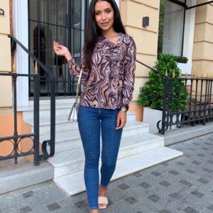 Приобрести коричневую женскую рубашку с пуговицами (размер 42-56) в Украине