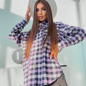 Заказать лиловую женскую байковую рубашку в клетку (размер 42-48) недорого