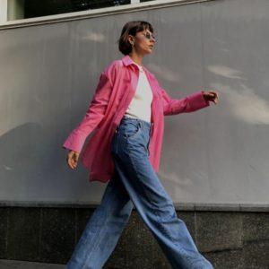 Приобрести по скидке рубашку оверсайз из хлопка (размер 42-48) розовый для женщин