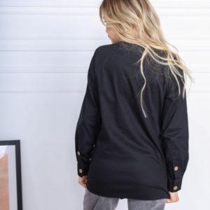 Заказать по скидке черную асимметричную рубашку из хлопка (размер 42-52) для женщин