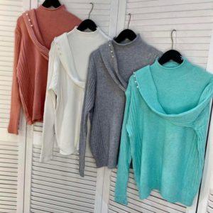 Приобрести женский онлайн свитер с воротником стойкой бирюза, белый, серый, розово-коричневый