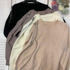 Купить по скидке беж, черный, молоко, мокко женский свитер со змейками