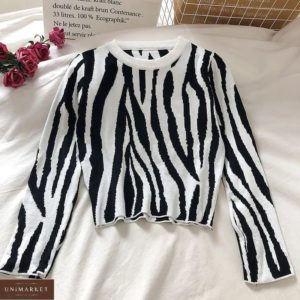 Заказать белый женский свитер с принтом зебра в Украине