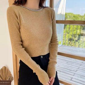 Купити бежевий жіночий светр з ланцюжком онлайн