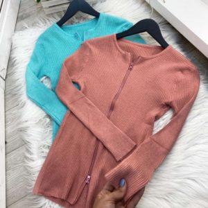 Заказать недорого женский свитер на молнии бирюза, розово-коричневый