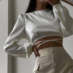Заказать женский белый шелковый топ с длинным рукавом онлайн