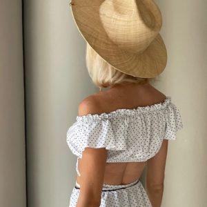 Приобрести белый женский топ из штапеля в горошек (размер 42-52) в Украине