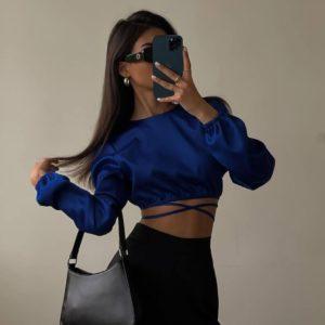 Заказать синего цвета женский шелковый топ с длинным рукавом в Украине