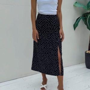 Заказать недорого черную юбку миди в горошек с разрезом (размер 42-48) для женщин