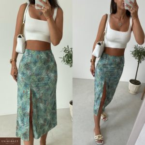 Заказать онлайн зеленую юбку миди с принтом и разрезом (размер 42-48) для женщин