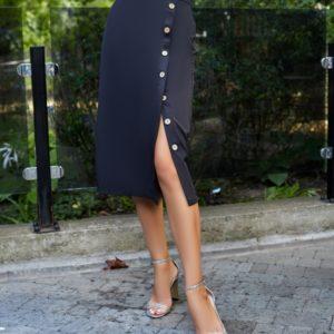 Заказать в интернете черную юбку на пуговицах женскую
