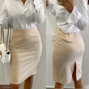Заказать недорого бежевую юбку классика с разрезом (размер 42-48) для женщин