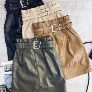 Приобрести недорого женскую кожаную юбку с двойным ремнем беж, кэмел