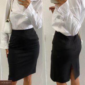 Приобрести выгодно черную женскую юбку классика с разрезом (размер 42-48)
