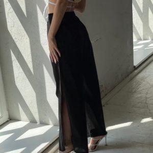 Купить онлайн черные брюки с разрезами из коттона (размер 42-52) для женщин