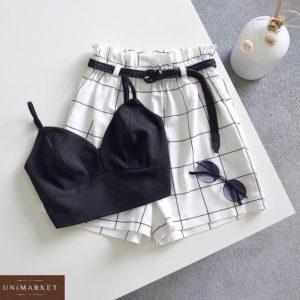 Замовити онлайн чорно-білий костюм з топом і шортами в клітку для жінок
