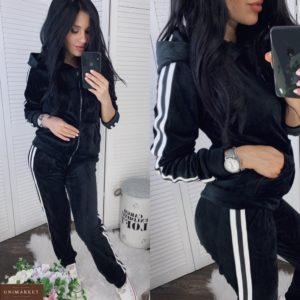 Купити онлайн чорний спортивний костюм з велюру з лампасами (розмір 42-52) для жінок
