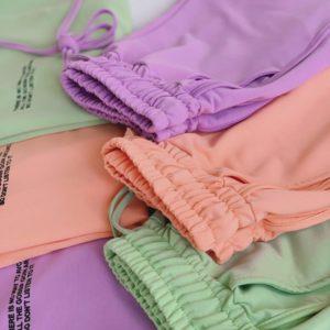 Придбати недорого жіночий прогулянковий костюм: шорти і футболка ліловий, фісташка, персик