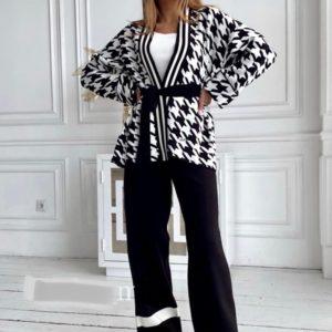 Заказать черный женский кашемировый костюм с принтом (размер 42-48) по скидке