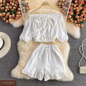 Замовити білий жіночий літній костюм з топом і шортами в інтернеті