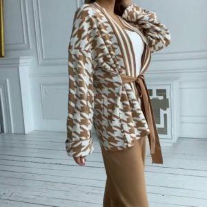 Купить бежевый женский кашемировый костюм с принтом (размер 42-48) онлайн