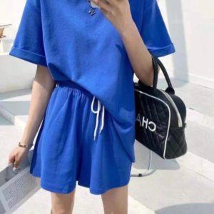 Купити синій жіночий прогулянковий костюм з шортами (розмір 42-48) онлайн