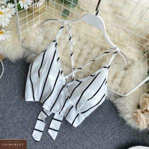 Купити вигідно білий жіночий костюм в смужку: шорти + топ