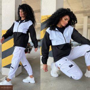 Заказать черно-белую женскую куртку плащёвку на змейке (размер 42-48) онлайн