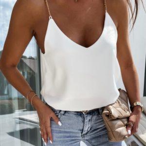 Купить выгодно белый женский майку на тонких цепочках (размер 42-48)