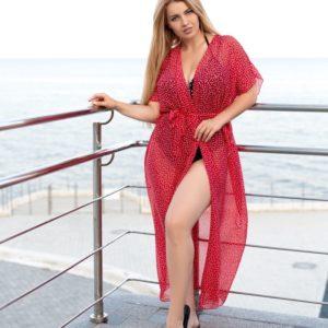 Купить онлайн красный пляжный кардиган-парео (размер 42-70) для женщин