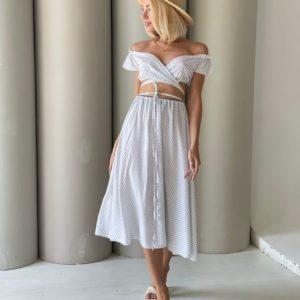 Купить белую женскую юбку из штапеля в горошек (размер 42-52) онлайн