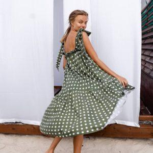 приобрести женский сарафан вискоза в горошек оливкового цвета по скидочной цене