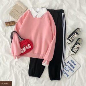 Купить по скидке розовый батник с белым воротником для женщин