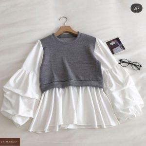 Купить выгодно серую блузку с имитацией жилетки для женщин