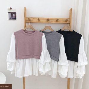 Купить женскую серую, фреза черную блузку с имитацией жилетки в Украине