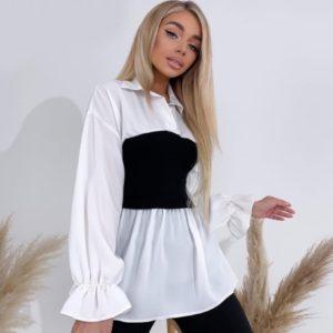 Заказать недорого белую блузку с трикотажной вставкой женскую