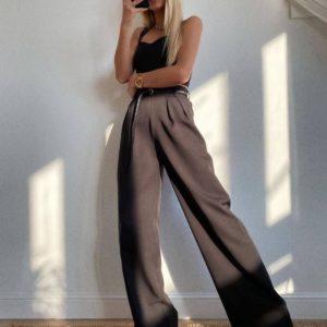 Заказать черные женские брюки-палаццо из костюмной ткани (размер 42-48) по скидке