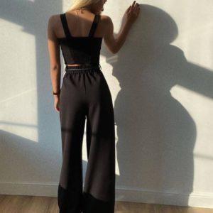 Приобрести выгодно брюки-палаццо из костюмной ткани (размер 42-48) черного цвета для женщин