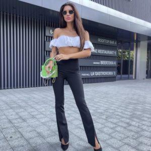 Купить по скидке черные высокие брюки с разрезами для женщин