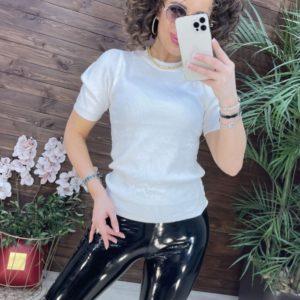 Замовити білий жіночий светр з коротким рукавом онлайн