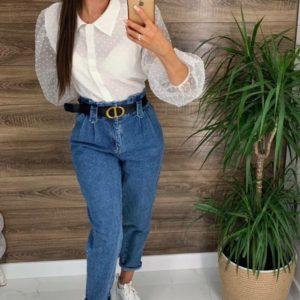 Купить джинсы с защипами (размер 42-48) синие женские онлайн