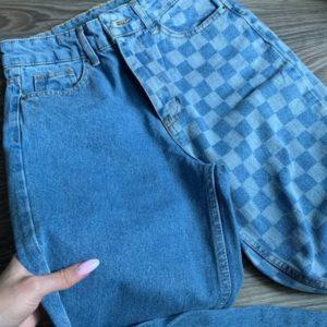 Замовити блакитні жіночі джинси мом в клітку вигідно